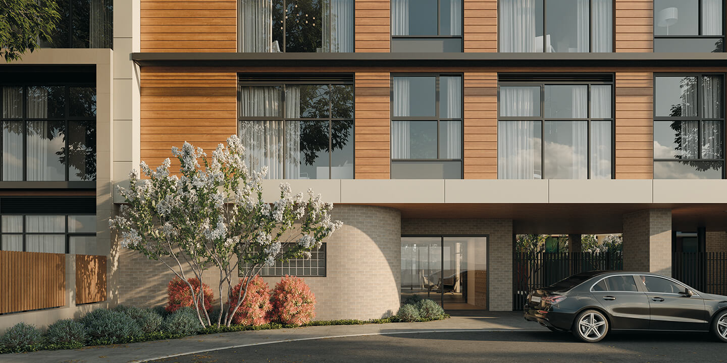 Front of building and entry (architectural visualisation), Life Care Gaynes Park Suites