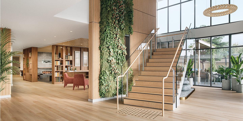 Light-filled reception (architectural visualisation), Life Care Gaynes Park Suites