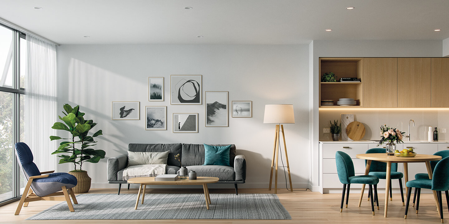 Apartment lounge-dining area (architectural visualisation), Life Care Gaynes Park Suites