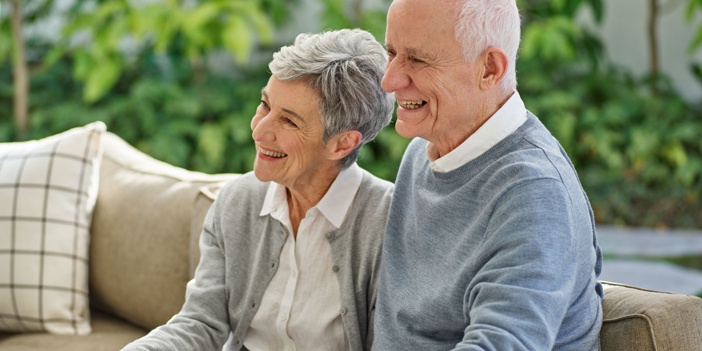 Smiling elderly couple, Life Care Gaynes Park Suites